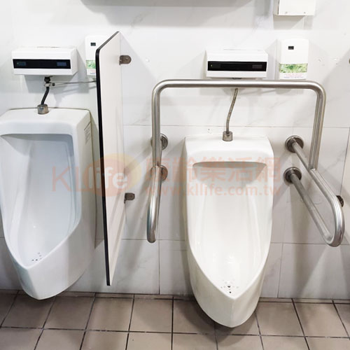 不鏽鋼安全扶手-小便斗扶手/浴室扶手客戶安裝實例