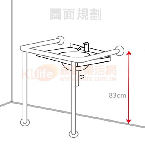 不鏽鋼安全扶手-框型檯面扶手/面盆扶手圖面規劃