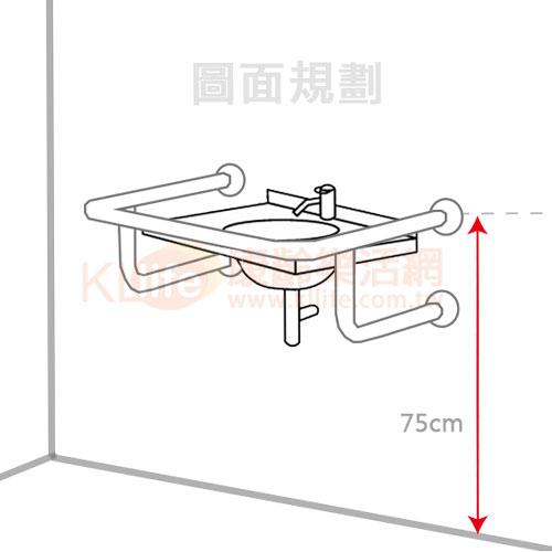 安全扶手-W型面盆扶手/臉盆扶手圖面規劃