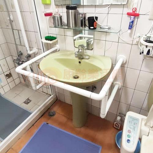 防滑抗菌安全扶手-抗菌W型面盆扶手/ABS臉盆扶手客戶安裝實例